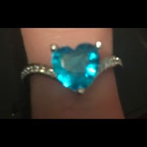 Sterling Silver Blue Topaz Heart shaped Ring